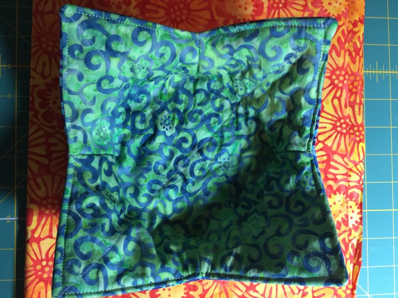 Blue Green Batik Bowl Cozy Microwavable