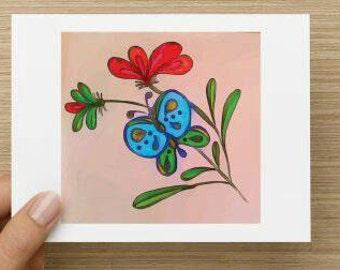 Set of 5 - Butterfly Fancy Note cards