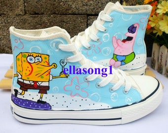 d37ce0d374a7 Hand Painted Cartoon Shoes Casual High top Custom Personality Flat Shoes