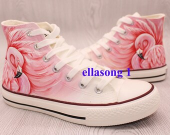 cba26ed72d337a Hand Painted Pink Flamingo Cartoon Canvas Shoes