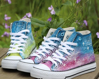 fd34f9af6b69 Hand Painted Galaxy Canvas Shoes