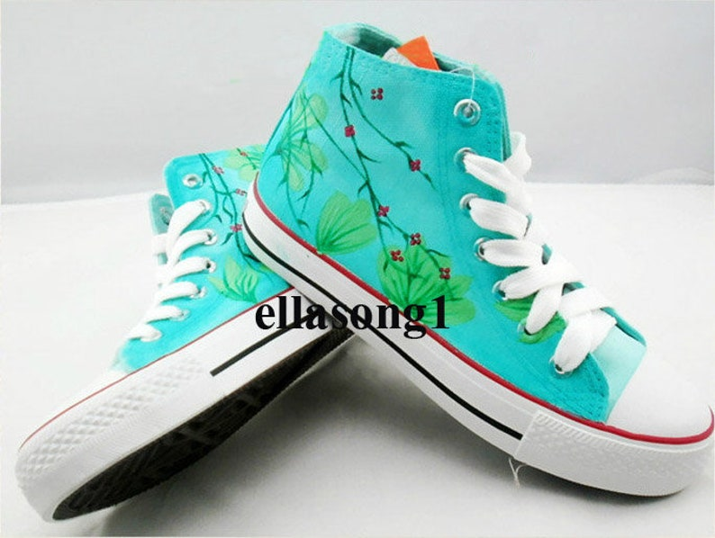 Mano dipinta blu fiore scarpe di tela alta personalità Gw5l95sd
