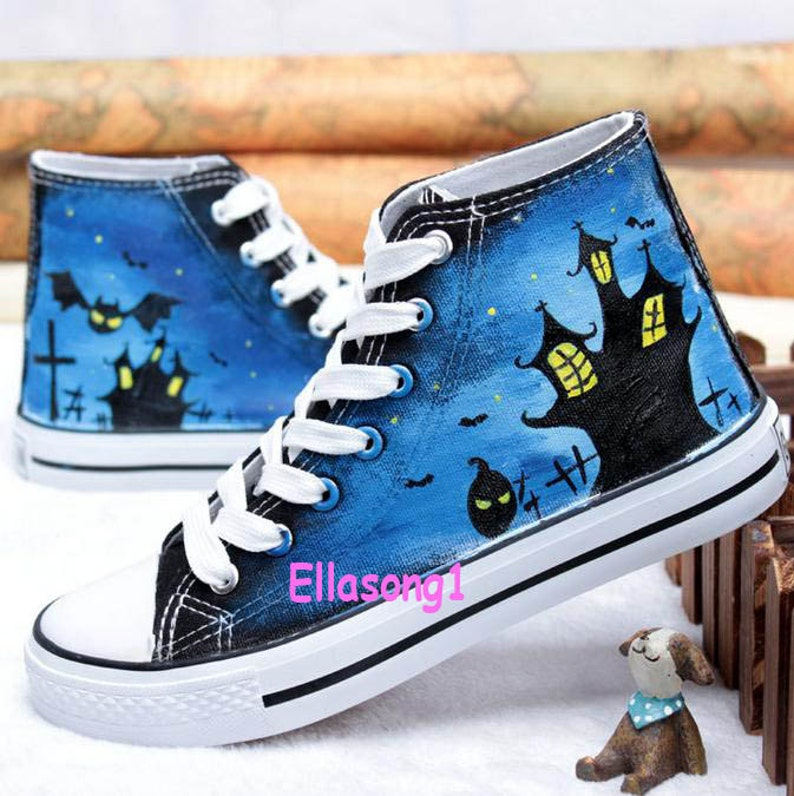 Hand Painted Anime Canvas Shoes High top custom Halloween image 0
