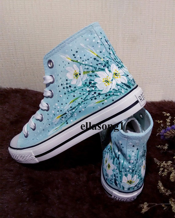 Hand Painted Animal Canvas Shoes,Hi top custom painted shoes,Casual Lace Individuality Doodle Hand Drawn sneakers,custom birthday gift