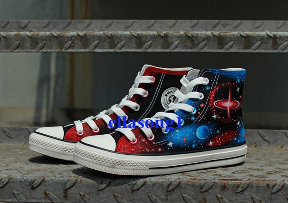Hand Painted Galaxy Casual Canvas Shoes,High Top custom flat shoes,Lace Individuality Doodle Hand Drawn shoes,painted sneakers,birthday gift