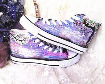 Galaxy Converse Custom Shoes,Hand Painted Shoes,Custom Converse,Painted Shoes,Birthday Gifts,Fashion Sneaker,Casual Shoes 76