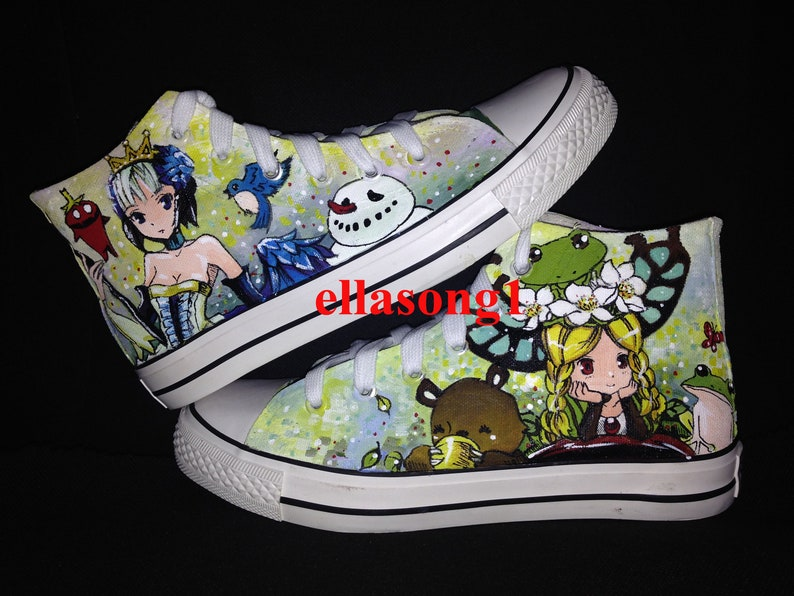 Hand Painted Girl Canvas Shoes,Hi top custom painted shoes,Casual Lace Individuality Doodle Hand Drawn sneakers,custom birthday gift