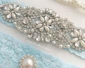 Something Blue Wedding Garter Set - Bridal Garter Set - Blue Garters - Garters For Wedding