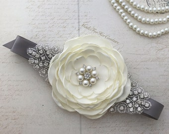 Silver Ivory Sash, gray ivory flower girl Sash, Silver bridal sash, Silver Wedding Belt, Flower girl belt, Bridesmaid Sash/Belt, Bridal sash