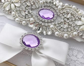 Lavender Wedding Garter Set, Lavender Bridal Garter Set, Light Purple Garter Set, Crystal Pearl Garter, Vintage Garter, Lilac Garter Set
