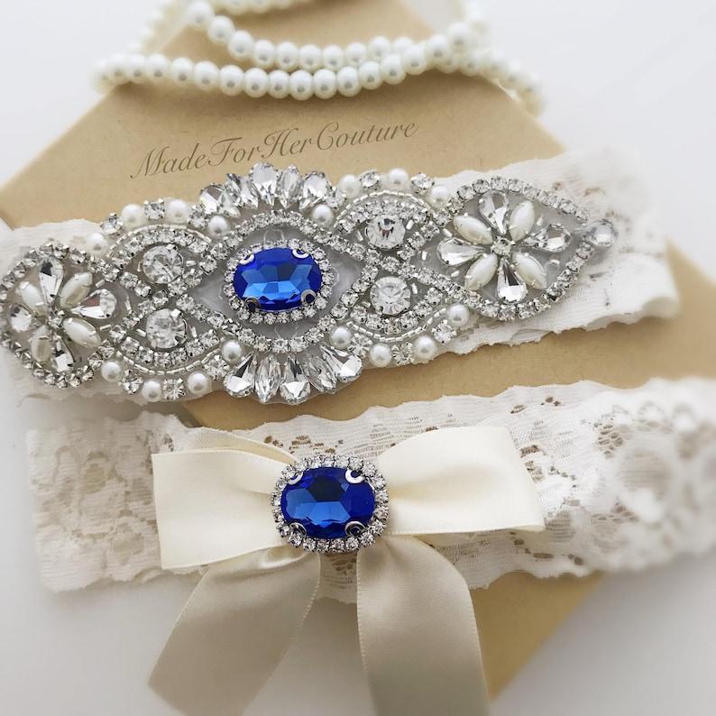 d63ca70bec4 Something Blue garter set Blue Wedding Garter Bridal Garter