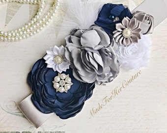 Navy flower sash, navy white flower maternity belt sash, navy maternity sash, navy maternity belt, maternity sash, pregnancy sash belt
