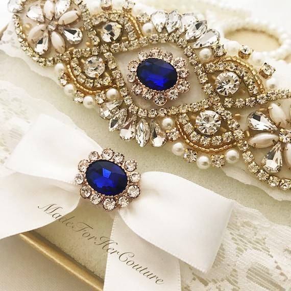 5f33877bf8b Gold   Blue Wedding Garter Bridal Garter Set Gold Garter