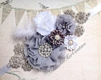 Gray Wedding Sash, Maternity Sash, white wedding belt Sash, bridal sash/belt, Bridal Belt, Satin Ribbon Sash, Bridesmaid Sash/Belt