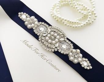 navy bridal sash, Wedding dress sash-wedding Sash Belt-Pearl Crystal Sash-Rhinestone belt -Navy Bridal Belt -Bridal Sash-Blue wedding Sash