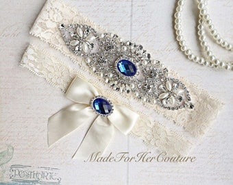 Wedding Garter, Garter, Bridal Garter, Ivory Garter, Garter Set, Something Blue, Ivory wedding garter, Lace Garter, Lace wedding garter