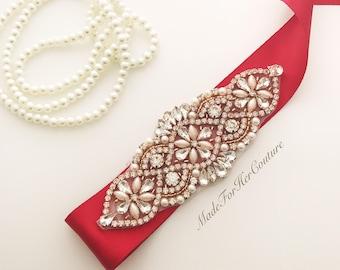 Red Bridal Sash, Red Wedding Sash, Red Sash Belt, Red Rose Gold Belt, Rose Gold Sash Belt, Bridesmaid Red Wedding Sash Belt