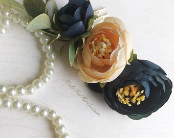Bridal Flower Comb, Boho Flower Comb, Flower comb, Flower Headpiece, Navy Flower Comb , Tea Roses Headpiece, Champagne Flower comb