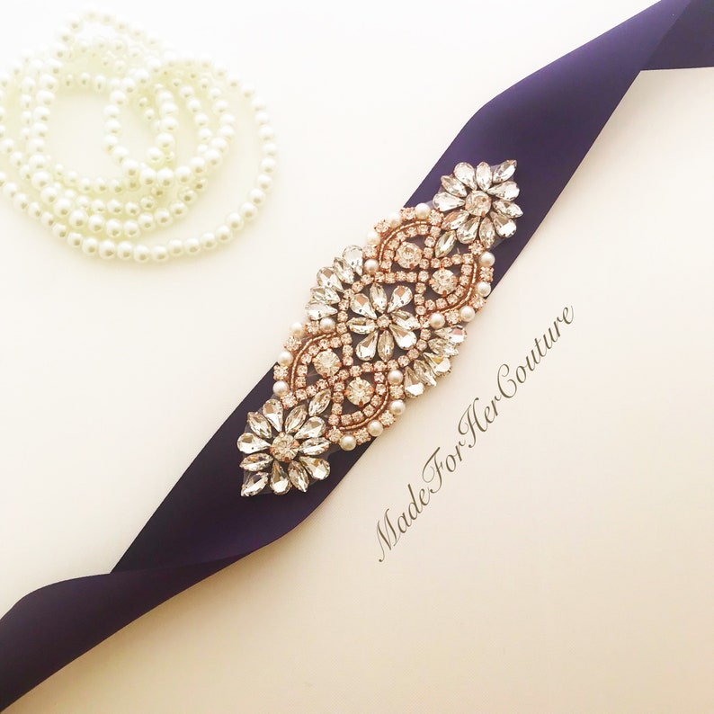97dc90a7303 Rose gold bridal sash belt for wedding Satin purple ribbon