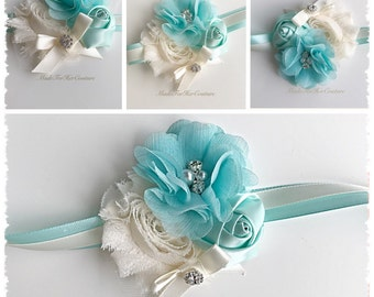 Mint Corsages, Mint Wrist Flower, Wrist Corsage, Wedding Corsage, mint ivory Corsage, Ivory Corsage, Wedding Wrist Band, Wedding corsage