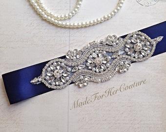 Navy Wedding Sash, Wedding Sash Belt-Pearl Crystal Sash-Rhinestone belt -Navy Bridal Belt -Bridal Sash-wedding Sash-Navy Bridal sash