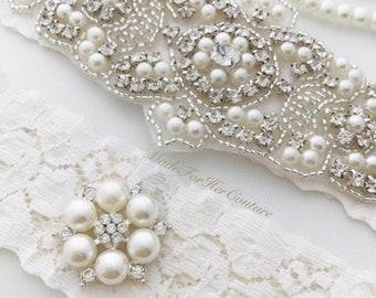 Wedding Garter, Bridal Garter, Ivory Garter, Crystal Pearl Garter Set, Vintage Garter, Wedding Garter Belt, Garters for wedding