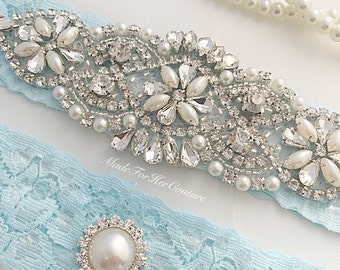 Light Blue Wedding Garter, Light Blue Bridal Garter Set, Blue Lace Garter, Crystal Pearl Garter, Vintage Garter, Blue Wedding Garter Belt