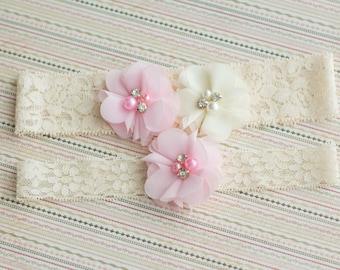 Pink Wedding Garter Set, chiffon puff garter set, Bridal Garter Set, Lace Garter, Crystal Garter Set,toss garter included,vintage inspired