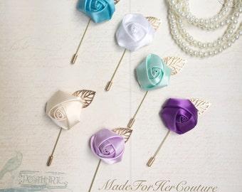 Lapel, Men's Lapel pin, Vintage Lapel, Rustic Lapel, boutonnière, groomsmen gift, ivory lapel, mint lapel, rose lapel