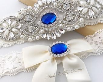Royal Blue Wedding Garter, Royal Blue Bridal Garter, Royal blue Garter Set, Ivory Garter Set, Garter Set, Wedding Garter Belt-Something Blue