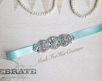 Wedding Sash, wedding belt,  bridal sash, bridal belt,Bridesmaid Sash, Flower girl Sash, flower-girl belt, bridesmaid belt, Aqua Bridal Sash