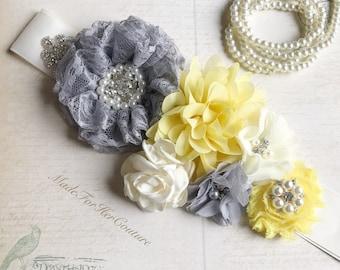 Gray Yellow flower sash, Gray Yellow flower wedding belt, gray yellow bridal sash, Bridal Belt, Neutral Maternity Sash, maternity sash