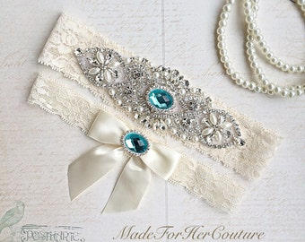 Blue Wedding Garter, Bridal Garter Set, Stretch Lace Garter, Crystal Pearl Garter, Vintage Garter, Wedding Garter Belt-Something Blue Garter