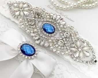 Royal Blue Wedding Garter, White Wedding Garter, Blue Garter Set, Crystal Pearl Garter, White Wedding Garter Belt-Something Blue Garter set
