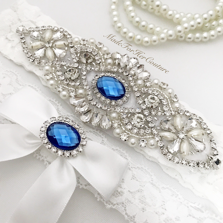 Royal Blue Wedding Garter White Wedding Garter Blue Garter