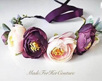 Bridal Flower Crown, Boho Flower Crown, Flower Tiara, Bridal Flower Tiara, Flower Headband, Flower Halo, Wreath Tiara, Purple Flower Crown