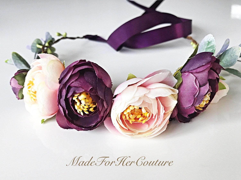 Bridal Flower Crown Boho Flower Crown Flower Tiara Bridal Etsy