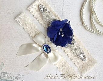 Royal Blue Wedding Garter-Stretch Lace Garter-Bridal Garter-Lace Garter Flower Garter-Something Blue Garter-Ivory Lace Garter, Blue Bridal G