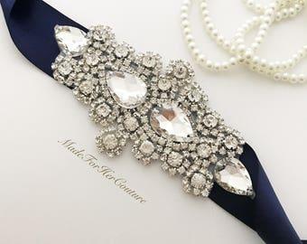 Navy Blue Crystal Wedding sash-Navy Blue wedding Sash Belt- Navy Crystal Sash-Navy Rhinestone belt sash-Navy Bridal Belt-Navy Bridal Sash-