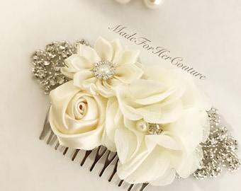 Wedding Head Piece, Bridesmaid Headpiece, Bridal Headpiece, Ivory Hair Comb, Wedding Hair comb, Bridal Barrette, Bridesmaid gifts