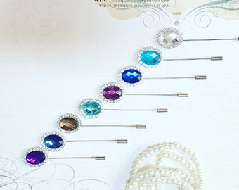Lapel, Men's Lapel pin, Vintage Lapel, Rustic Lapel, boutonnière, groomsmen gift, Lapel Pin, Lapel Rhinestone