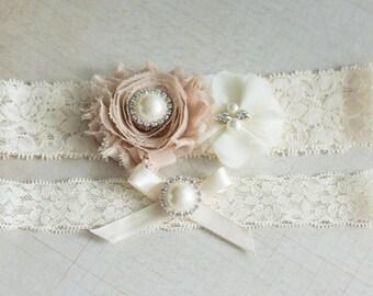 Bridal Garter Set,Wedding Garter Set, garter set, Rhinestone Lace Garter, Pearl Crystal Garter Set, Vintage Garter, Camel Flower Garter