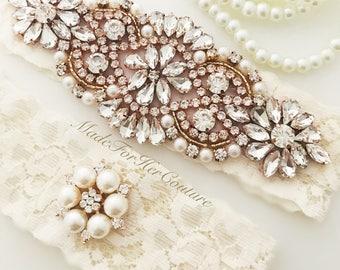 Rose Gold Wedding Garter, Rose Gold Bridal Garter Set, Rose Gold Garter Set, Ivory lace rose gold garter, Wedding Garter Belt- garter sets
