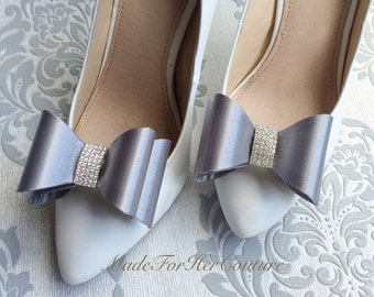 Silver Shoe clips, wedding shoe clips, shoe clip ons, bridal shoe clips, wedding shoe clips, bridal shoes, Bow Shoe clips, Gray Shoe Clips