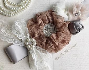 Lace tan flower sash, gray ivory flower wedding belt Sash, lace flower bridal sash, lace Bridal Belt, lace gray tan ivory Maternity Sash,
