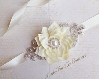 Ivory flower girl belt, flower girl sash, Wedding Sash, wedding belt,  bridal sash Bridal Belt, ivory Bridal Sash, Bridesmaid Sash belt