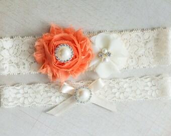 Bridal Garter Set, Wedding Garter Set, Orange garter set, Fall Garter Set, Rhinestone Lace Garter, Pearl Crystal Garter Set, Vintage Garter