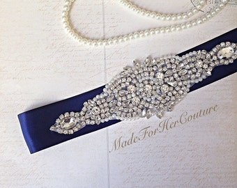 Navy Wedding sash, Navy Bridal Belt, wedding Sash Belt, Pearl Crystal Sash, Rhinestone belt sash, Navy Bridal sash, Bridal Sash,