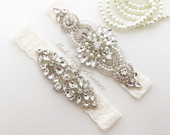 wedding garter, garters for wedding, garter set, garters, ivory garter set, bridal garter, wedding garters ivory, crystal garter set