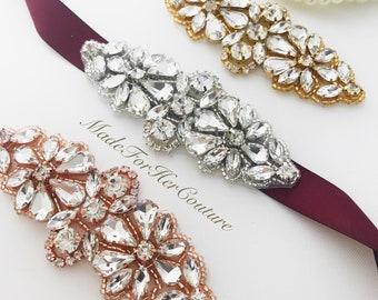 Bridesmaid belt rose gold, gold, silver, flower girl belt rose gold, gold, silver, wedding belt, wedding sash
